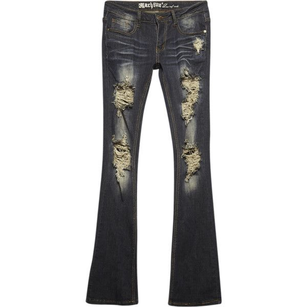 Machine Jeans  Machine Destroyed Boot Cut Jeans ($37) ❤ liked on Polyvore featuring jeans, boot-cut jeans, distressed jeans, stretch denim jeans, wet seal and destroyed jeans