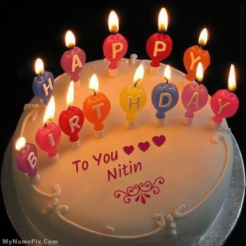 The Name Nitin Is Generated On Candles Happy Birthday Cake With