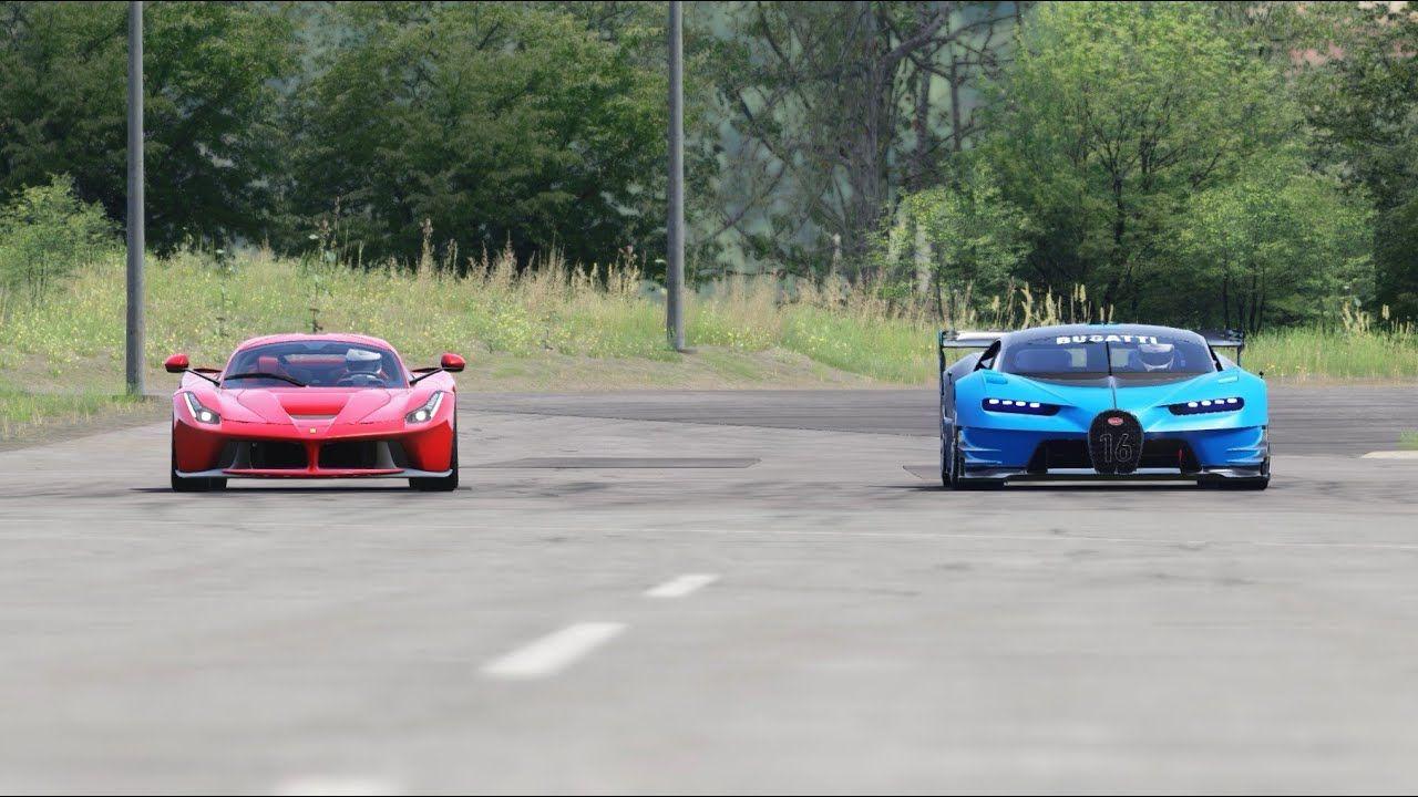 Bugatti Vision Gt Vs Ferrari Laferrari At Miseluk Drag 1 Na 1 In 2020 Ferrari Laferrari Bugatti Ferrari