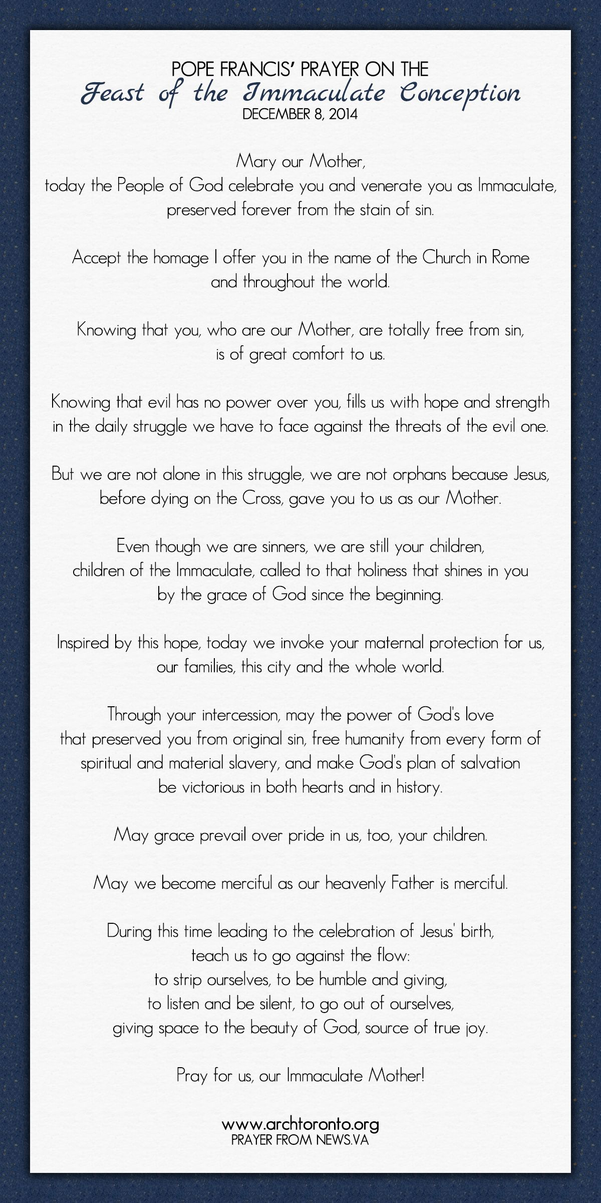 Pope Francis Prayer On The Feast Of The Immaculate Conception