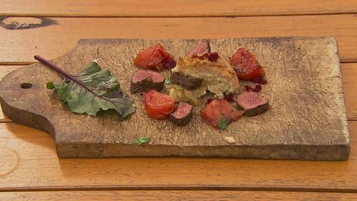 Kangaroo Damper with Caramelised Onions, Beetroot and Tomatoes