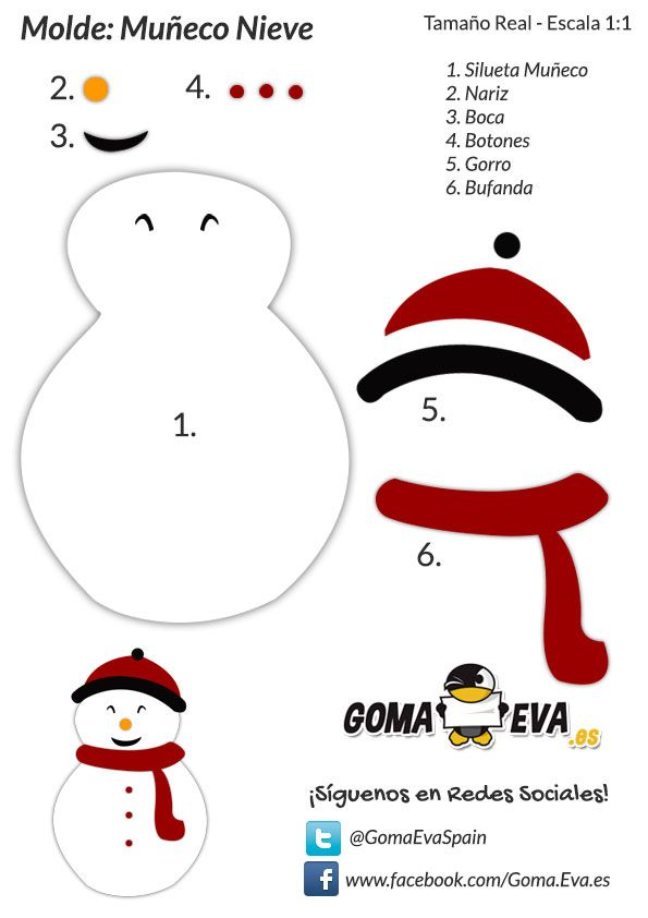 Mueco de Nieve de Goma Eva  INVIERNO  Pinterest