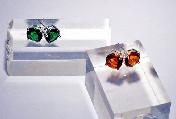 Emerald Green Glass Stud earrings or Golden Topaz Colored Glass Stud Earrings, you choose or buy both.