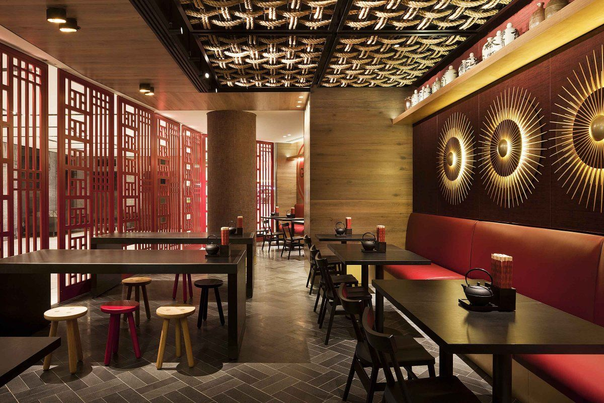 Chinese restaurant interior design idea with touched red for Interior cafe designs