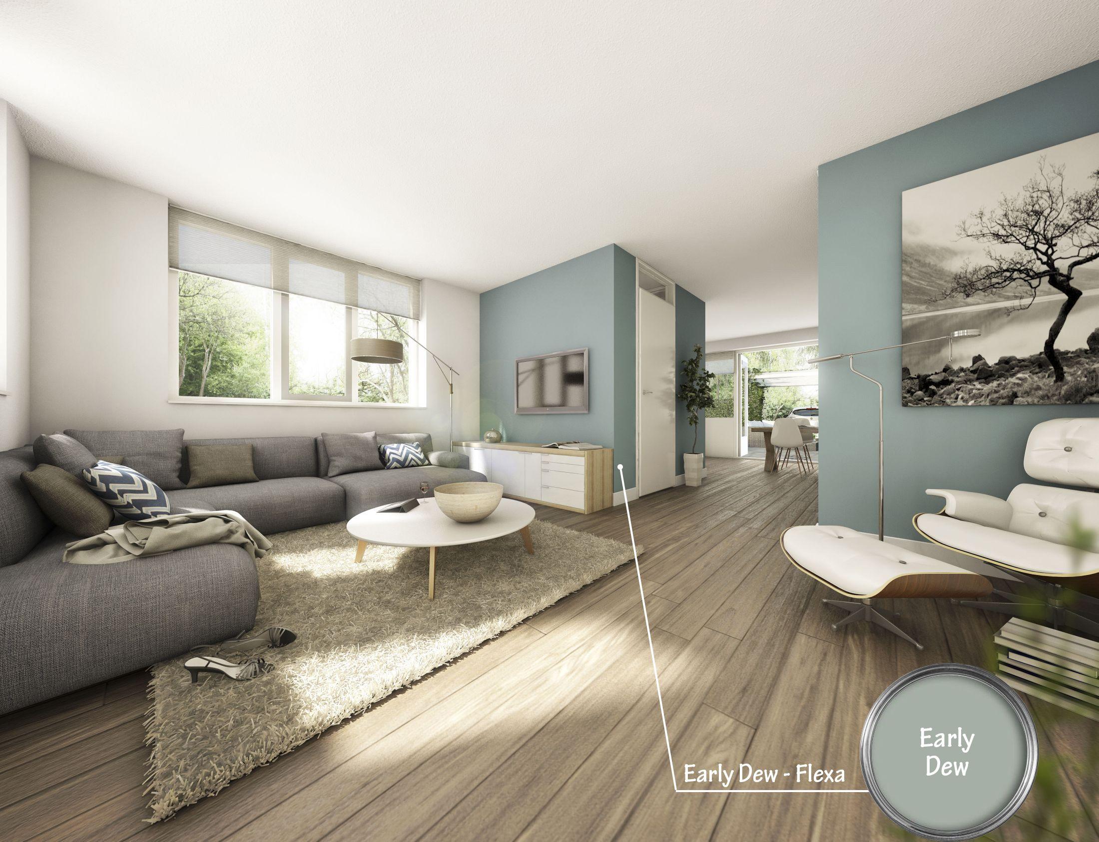 Frisse woonkamer met prachtige kleur Early Dew van Flexa