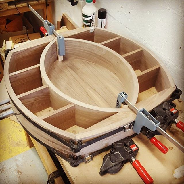 Instagram - @mattestleafurniture - I love seeing how people approach clamping up irregularly shaped jobs.