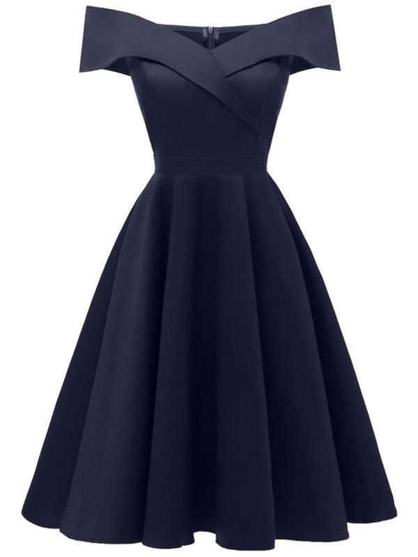 LaceShe Damen Schulterfrei Ärmelloses Cocktail Party Kleid