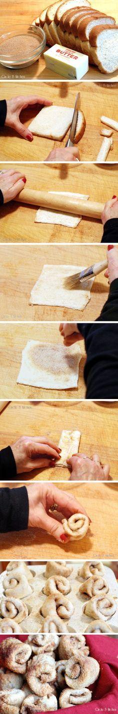 Aparentemente, pão de forma, açucar e canela e forno. hum..