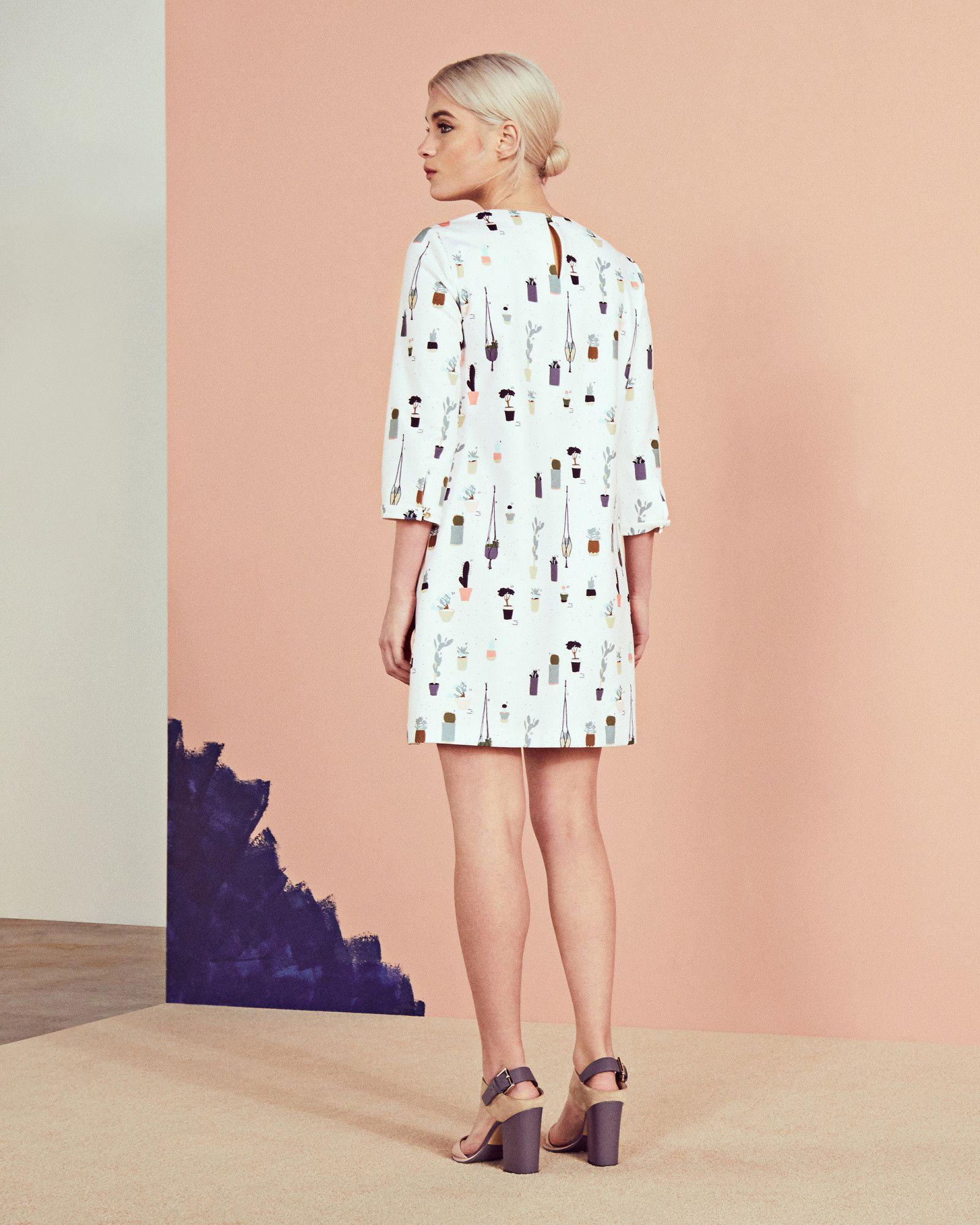 427b9b480e08 Cactus print shift dress - Ivory