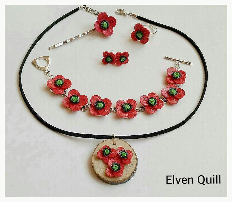 Red poppies - quilling necklace, earrings, ring, hair clip and bracelet set by Elven Quill www.facebook.com/elven.quill