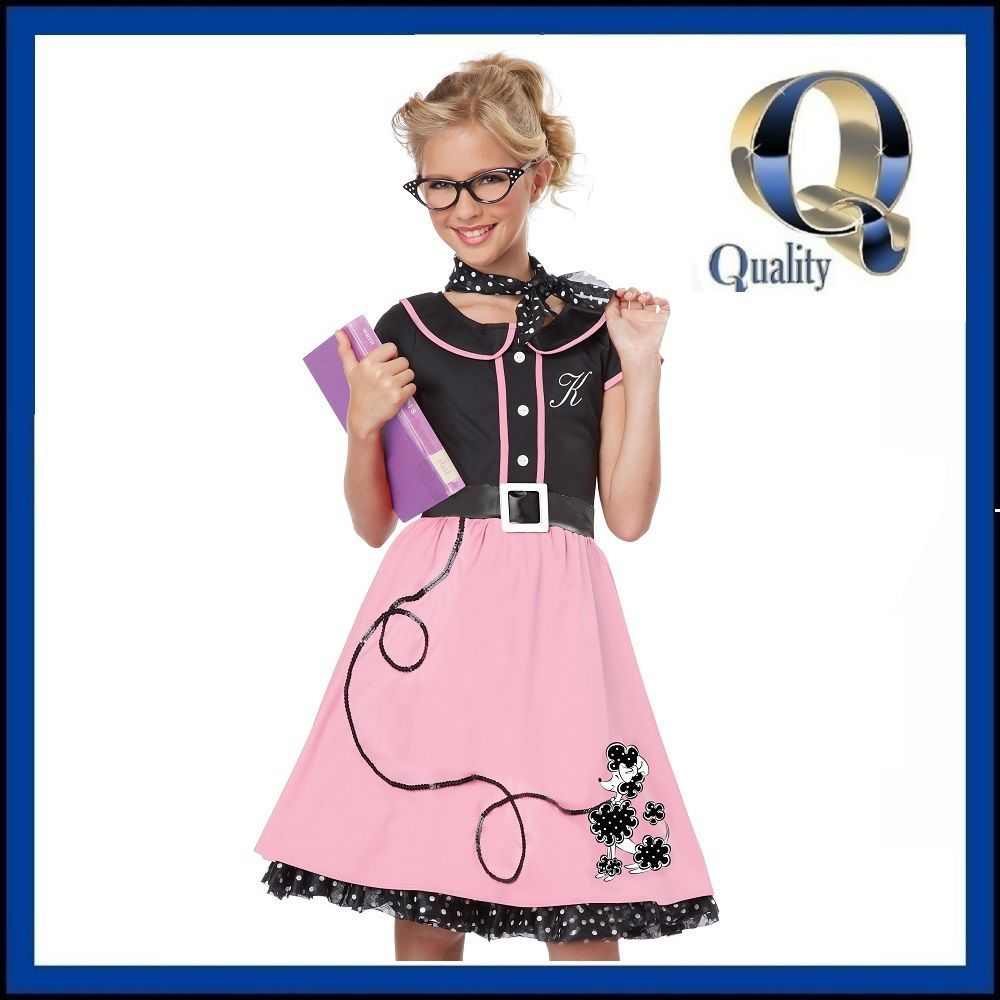 Girls 1950s Pink Poodle Skirt Costume