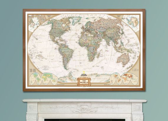 National Geographic World Map Murals.National Geographic World Executive Map Framed Home Decor Wall