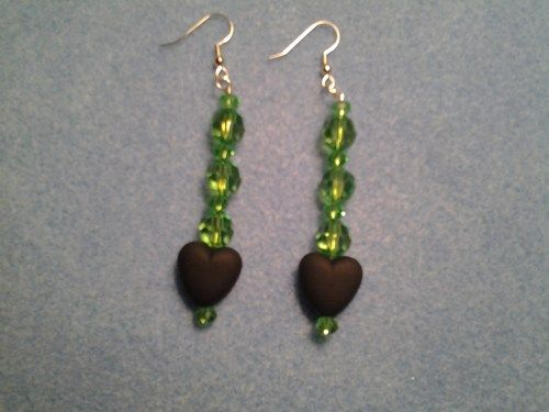 Green beads with a black heart dangle earrings  | LOVE33 - Jewelry on ArtFire
