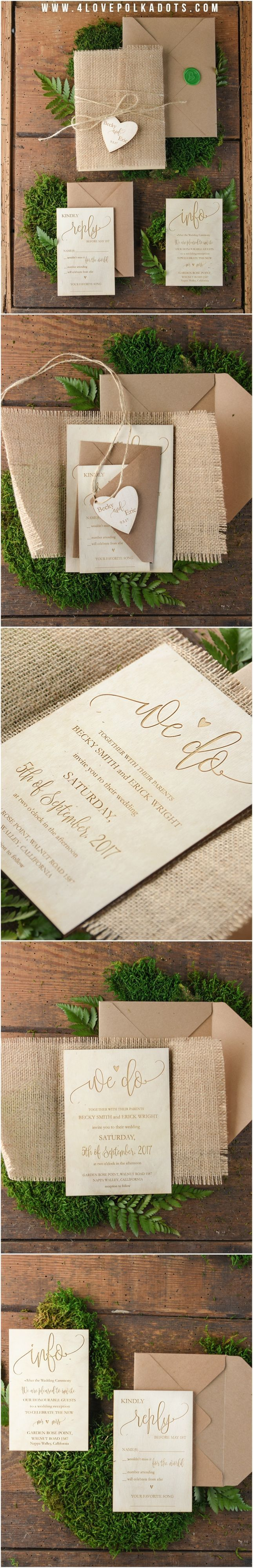 Wooden Rustic Wedding Invitations with burlap wrapping and heart tag ...