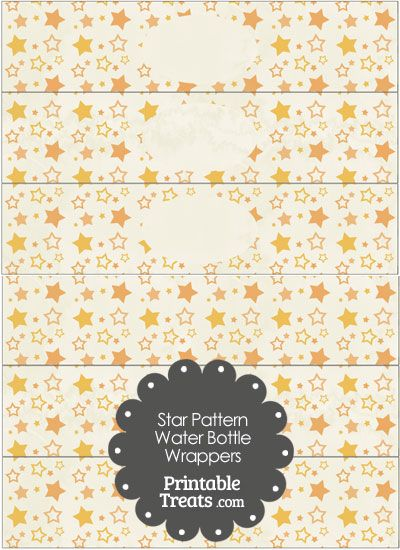 Vintage Orange Star Pattern Water Bottle Wrappers from PrintableTreats.com