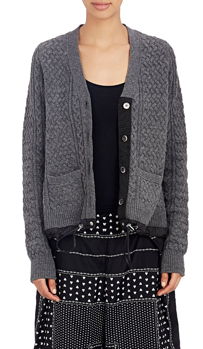 Drawstring-Hem Cable-Knit Cardigan