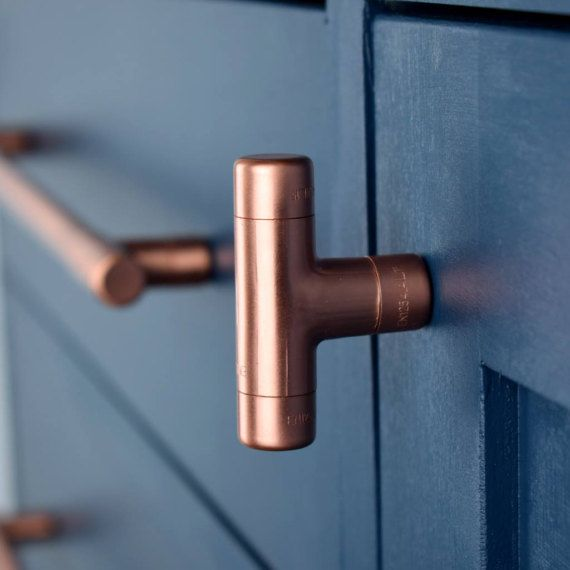 Modern Copper T Knob. Contemporary Drawer Pull Handle Knob.