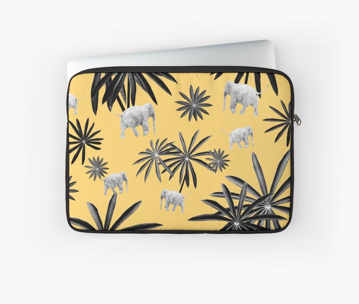 'Palm Tree Elephant Jungle Pattern #4 (Kids Collection) #decor #art ' Laptop Sleeve by anitabellajantz #junglepattern
