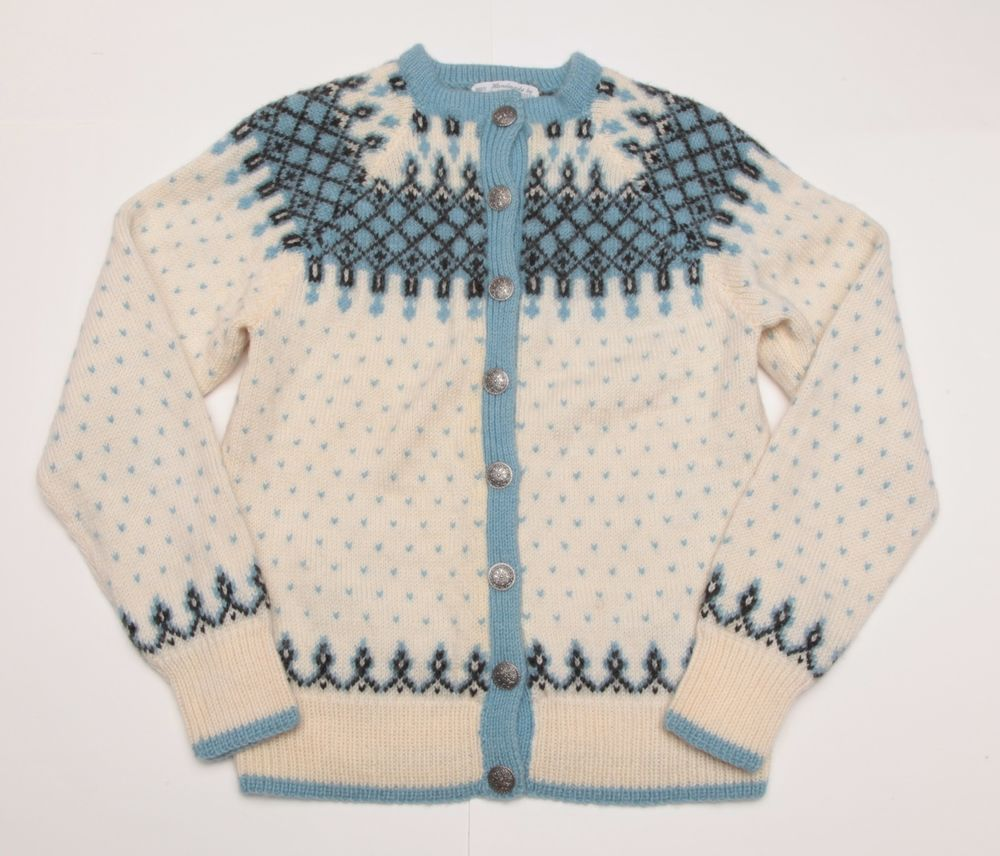 HEAVY O Allers Nilssen Norway Norwegian Hand Knit Sweater Cardigan ...