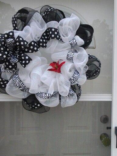 Polkadot and zebra print door wreath