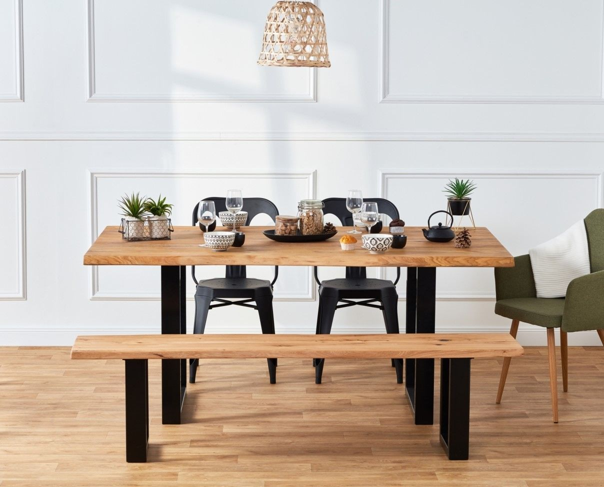 Table Rectangulaire Emma Chene Massif Pas Cher Table But Iziva Com Table Chene Massif Mobilier De Cuisine Chene Massif