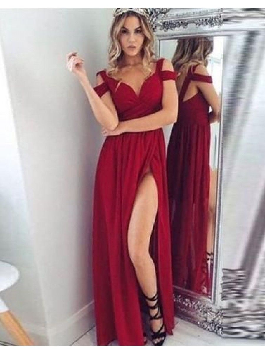 Long chiffon burgundy prom formal evening bridesmaid dresses