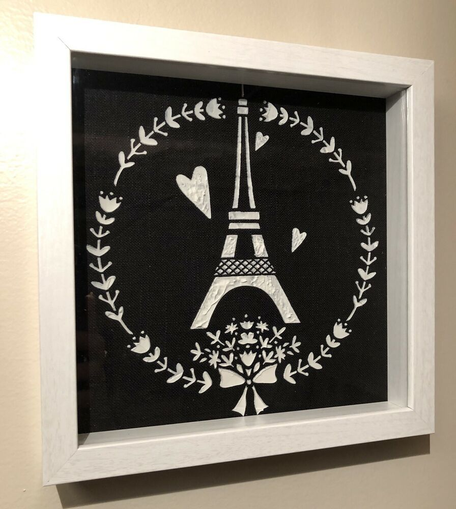 Shadow Box White Frame Black White French Themed Eiffel Tower Shadow Box Black White Frame