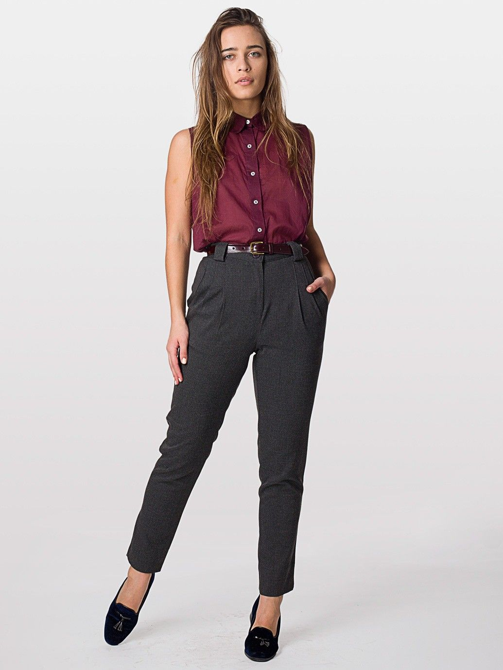 American Apparel Womens Twill Pleated Pant