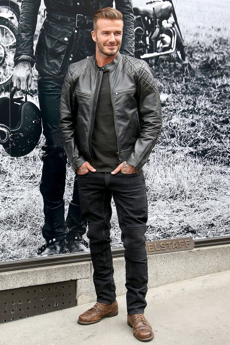 David Beckham with a rugged combo with a leather jacket brown boots black  denim black shirt  leatherjacket  davidbeckham  celebrities  celebrity   menswear ... 0d014560c