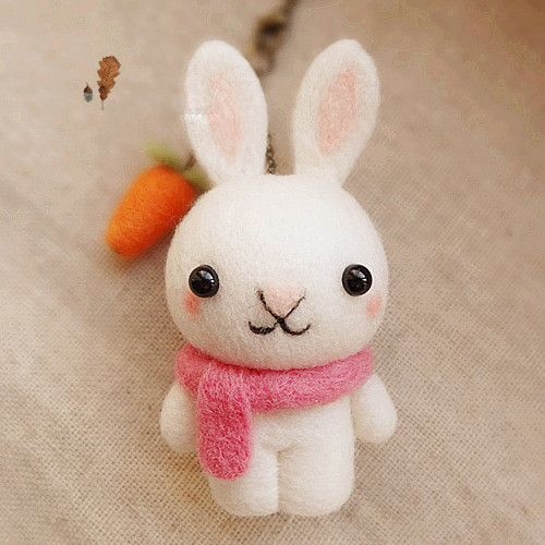 Needle Felted Felting project Wool Animals Bunny White Scarf Cute Craft #feltedwoolanimals