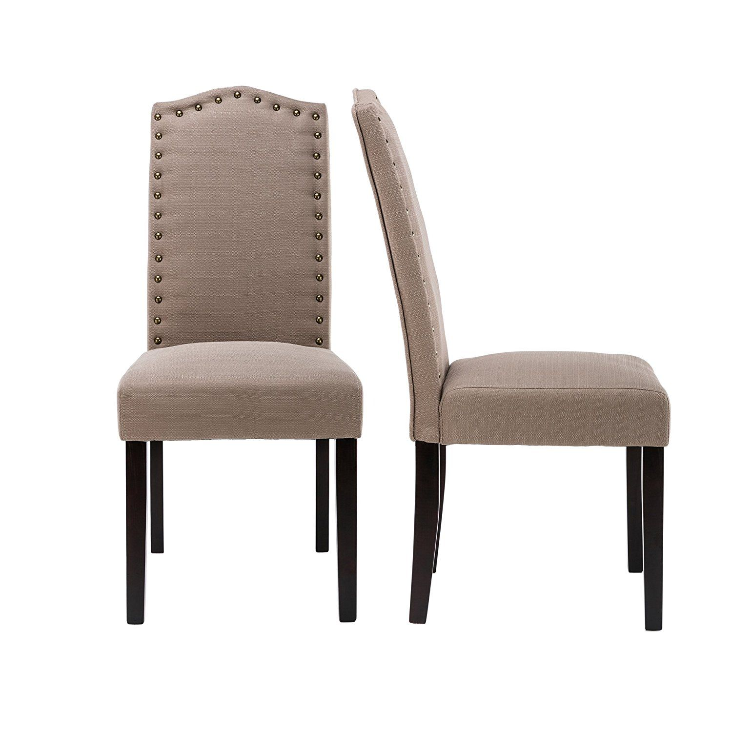 Amazon.com - LSSBOUGHT Set of 2 Luxurious Fabric Dining Chairs with ...