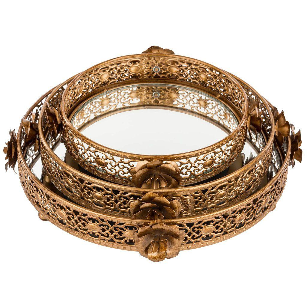 3piece round floral decorative tray set antique gold