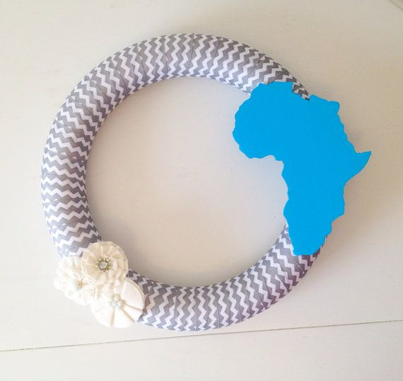 Custom Chevron Africa 13.5 Inch Wreath on Etsy, $40.00