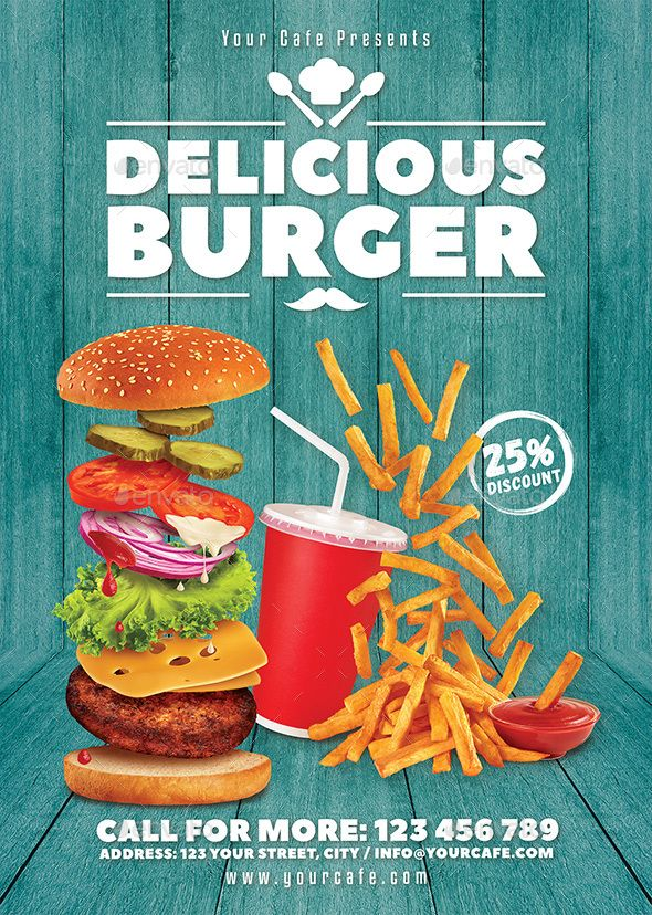 Burger Flyer Graphics, Flyer template and Font logo - food flyer template
