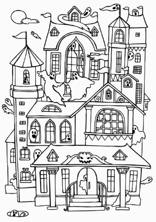 House Haunted Houses With Many Ghost Coloring Page House Colouring Pages Halloween Coloring Halloween Coloring Pages