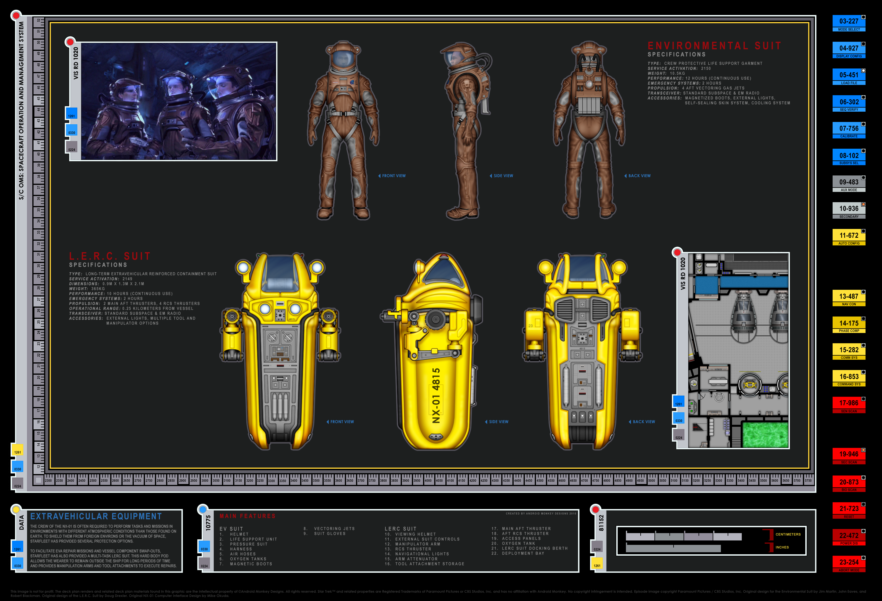 Colored schematic of EV suits; Columbia-cl starship ... on