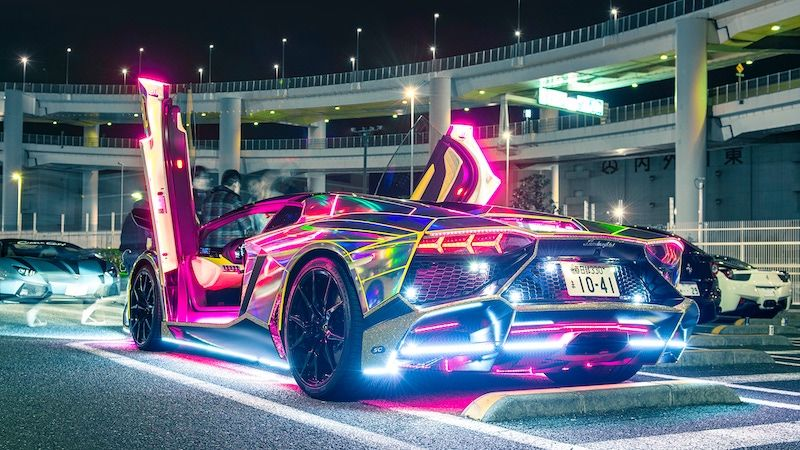 Neon Lamborghini Run In Japan Neon Car Car Wallpapers Lamborghini