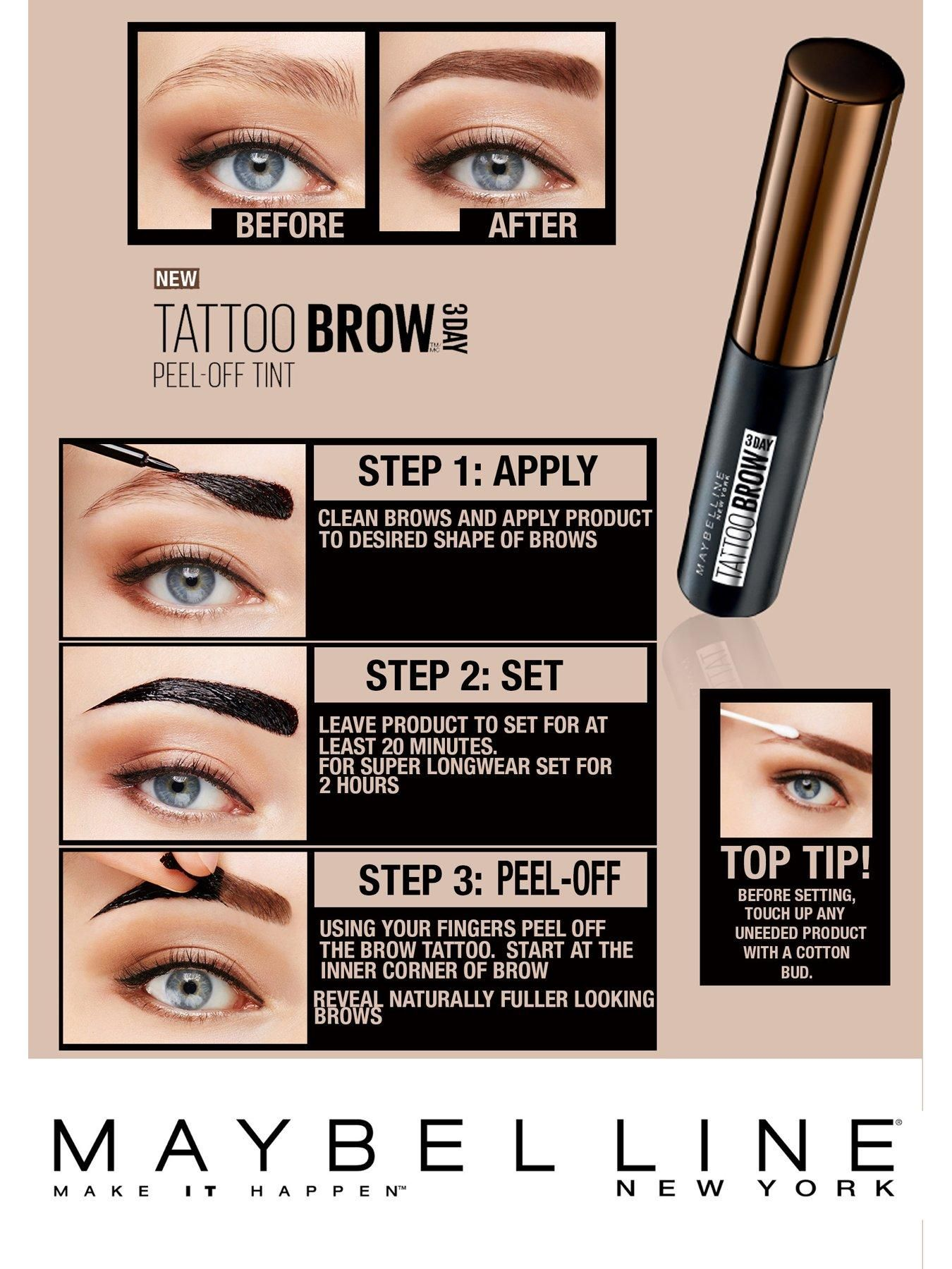 Maybelline Tattoo Brow Gel Tint Swatches