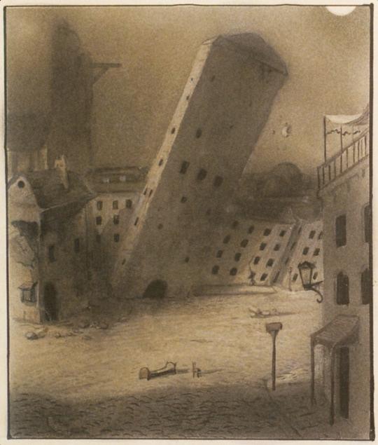 Alfred Kubin- dying city. Nd., around 1904