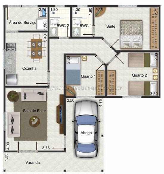 Planta de casa em formato de l lindas casas pinterest for Ver planos de casas pequenas