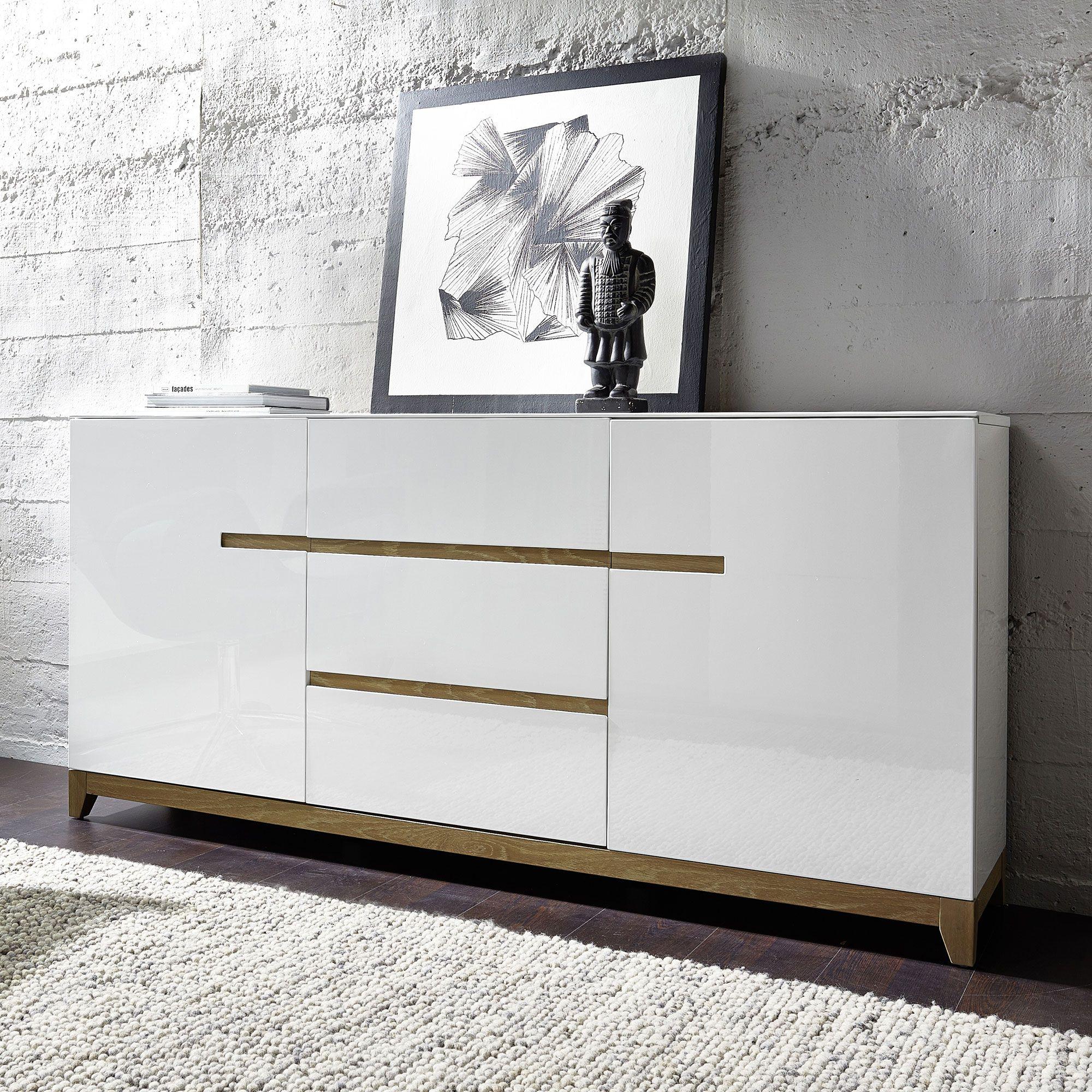 Buffet en bois bicolore 2 portes 3 tiroirs L180cm RIVA port offert ...