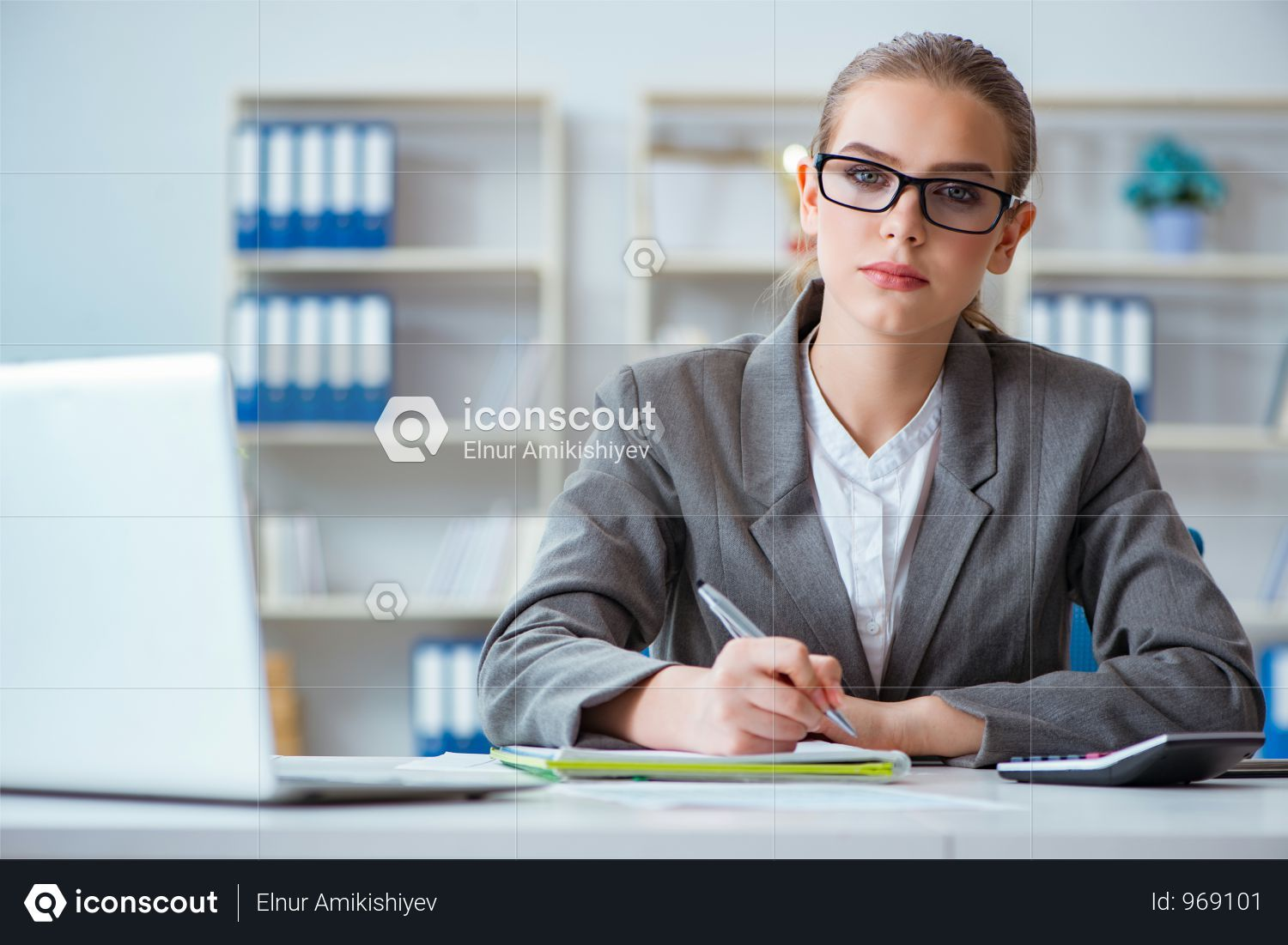 Young Businesswoman Accountant Working In The Office Photo