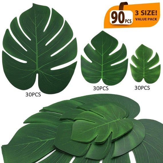 90 Pcs Artificial Tropical Palm Leaves Luau Party Decoration Monstera Fake Large Green Leaf | Jungle Birthday Theme Party Supplies (3 Size) #hawaiianluauparty