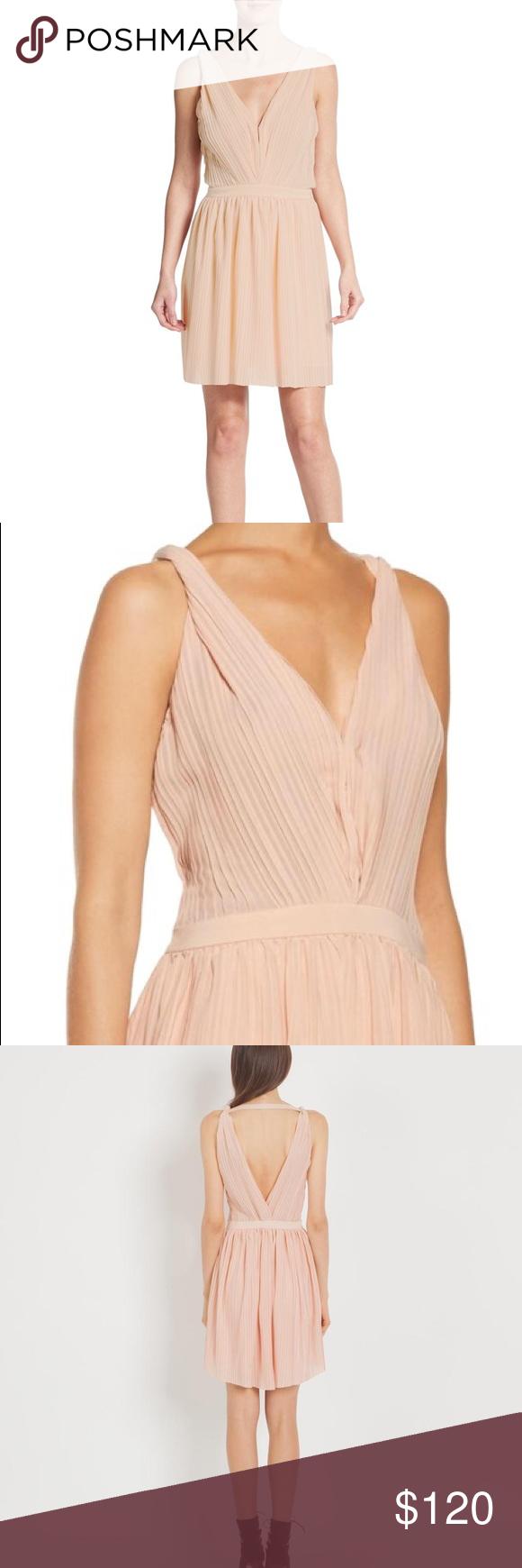 MAJE Frasera Blush Pink Grecian Pleated Dress Labeled French