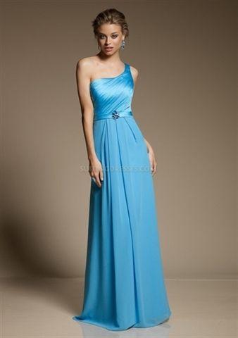 Picture of One Shoulder Bridesmaid Dresses Long, Peacock Blue Bridesmaid Dresses