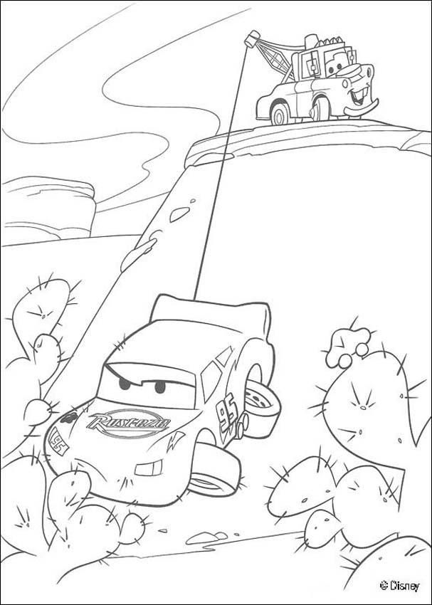Coloring page of the famous disney movie Cars. Color Mater Saves ...