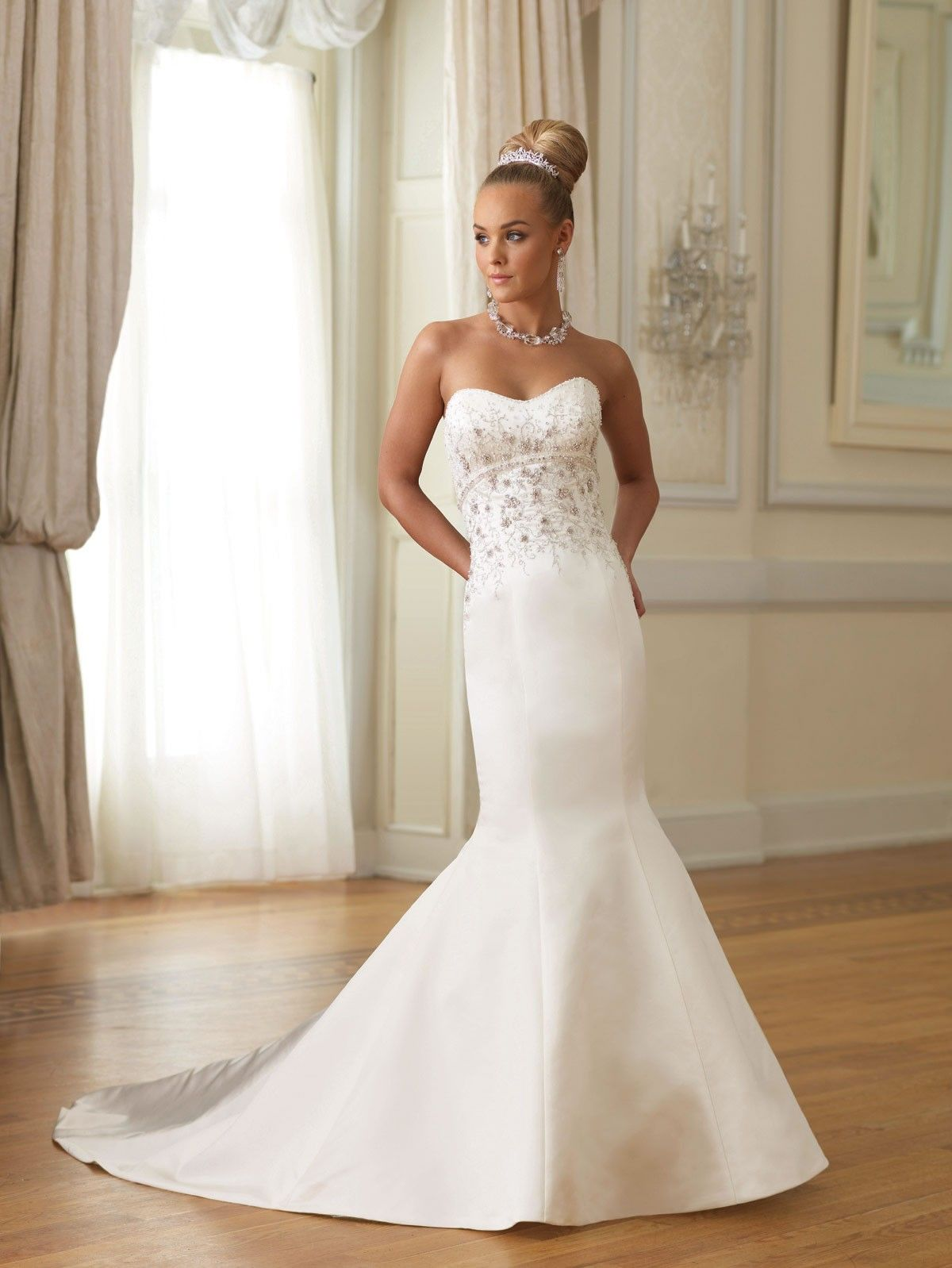 Dipped wedding dress  Satin Curved Neckline Low Dipped Back Bodice Mermaid Wedding Dress