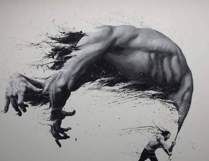 Italian artist paolo troilo needs no paintbrushes to create his artwork instead he dips his fingers into jars of black and white paint to create the most