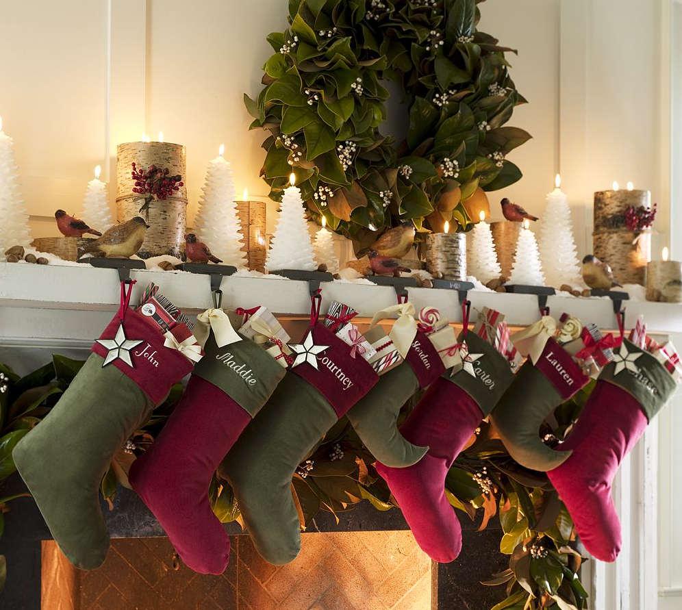 Feasible Christmas Themed Fireplace Mantel Decorating Ideas Cute Idea With Green And Red Stocking Also Greenery