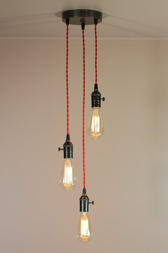 3 Light Chandelier W Bare Bulb Pendant Lights Red Twisted Antique Style Wire Edison Bulbs